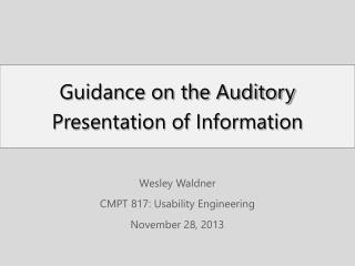 Guidance on the Auditory Presentation of Information