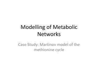 Modelling of Metabolic Networks