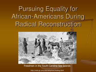 Pursuing Equality for  African-Americans During  Radical Reconstruction