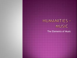 Humanities – Music