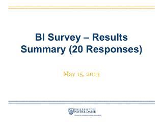BI Survey – Results  Summary (20 Responses)
