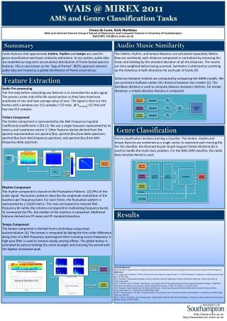 WAIS @ MIREX 2011 AMS and Genre Classification Tasks