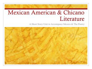 Mexican American & Chicano Literature