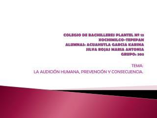 TEMA:  LA AUDICIÓN HUMANA, PREVENCIÓN Y CONSECUENCIA.