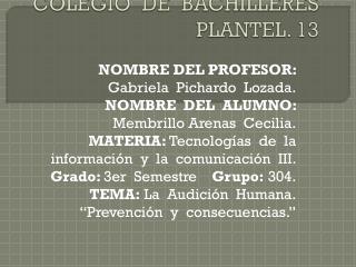 COLEGIO  DE  BACHILLERES  PLANTEL. 13