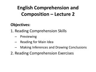 English Comprehension and Composition – Lecture 2