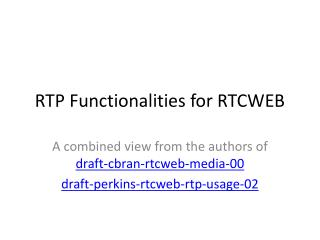 RTP  Functionalities  for RTCWEB