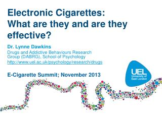 Electronic Cigarettes:   What are they and are they effective?