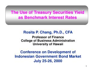 The Use of Treasury Securities Yield  as Benchmark Interest Rates