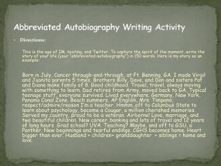 Abbreviated Autobiography Writing Activity