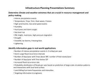 Infrastructure Planning Presentations Summary