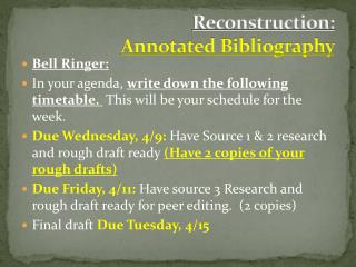 Reconstruction:  Annotated Bibliography