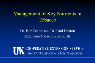 Management of Key Nutrients in Tobacco
