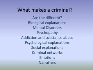 What makes a criminal?