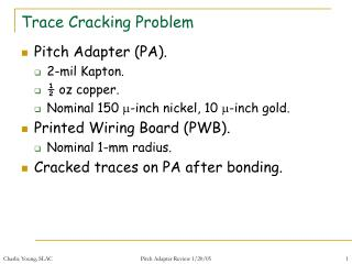 Trace Cracking Problem