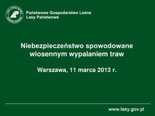 Niebezpieczeństwo spowodowane wiosennym wypalaniem traw Warszawa, 11 marca 2013 r.