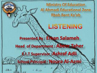Presented By :  Eman Salameh Head  of Department :  Abeer Taher E.L.T Supervisor  : Ashraf  Adli