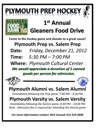 1 st  Annual Gleaners Food Drive