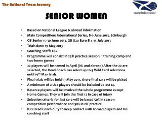 SENIOR WOMEN Based on National League & abroad information