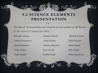 9.2 Science Elements Presentation