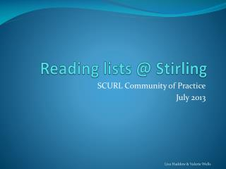 Reading lists @ Stirling