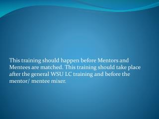 Peer Mentor Training