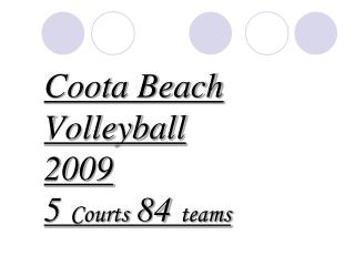 Coota Beach Volleyball 2009 5  Courts  84  teams