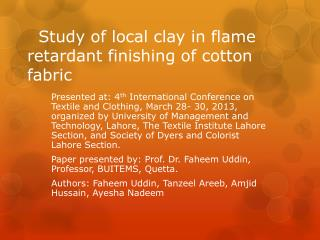 Study of local clay in flame retardant finishing of cotton fabric