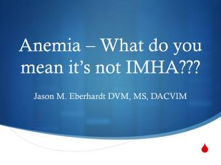 Anemia � What do you mean it�s not IMHA???