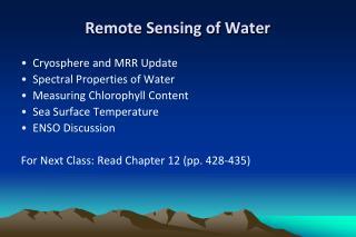 Remote Sensing of  Water