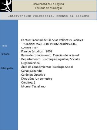 Universidad de La Laguna Facultad de psicolog�a