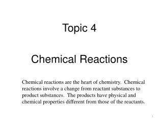 Topic 4 Chemical Reactions