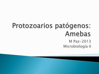Protozoarios patógenos:  Amebas