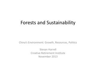 Forests and Sustainability