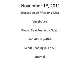 November 1 st , 2011