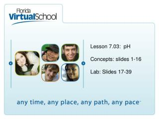 Lesson 7.03:  pH Concepts: slides 1-16 Lab: Slides 17-39