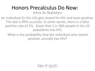 Honors  Precalculus  Do Now: