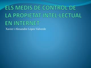 ELS MEDIS DE CONTROL DE LA PROPIETAT INTEL·LECTUAL EN INTERNET