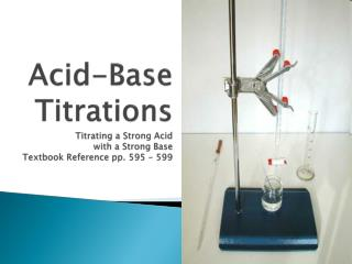 Acid-Base  Titrations Titrating a Strong Acid  with a Strong Base Textbook Reference pp. 595 - 599