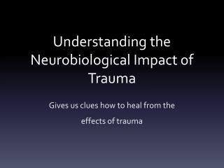 Understanding the Neurobiological Impact of Trauma