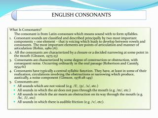What Is Consonants?