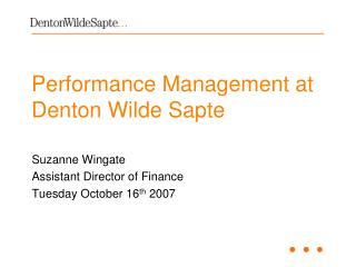 Performance Management at Denton Wilde Sapte