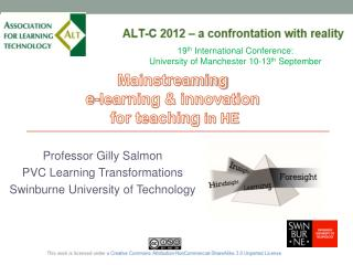 Professor Gilly Salmon PVC Learning Transformations Swinburne University of Technology