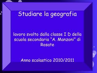 Studiare la geografia