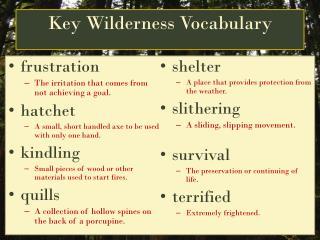 Key Wilderness Vocabulary