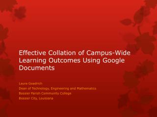 Effective Collation of Campus-Wide Learning Outcomes Using Google  Documents