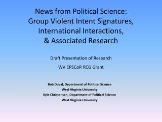 Bob Duval, Department of Political Science West Virginia University