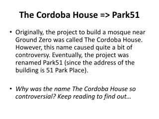 The Cordoba House => Park51