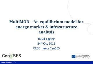MultiMOD – An equilibrium model  for energy market  &  infrastructure analysis