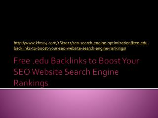 Free .edu Backlinks to Boost Your SEO Website Search Engine